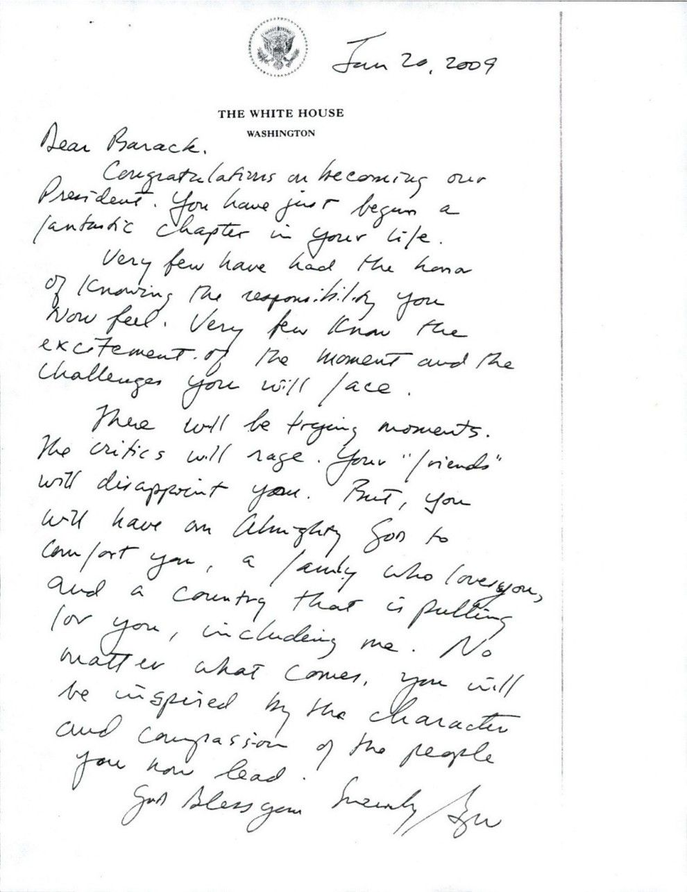 This Is The Letter George Bush Left For Barack Obama When He