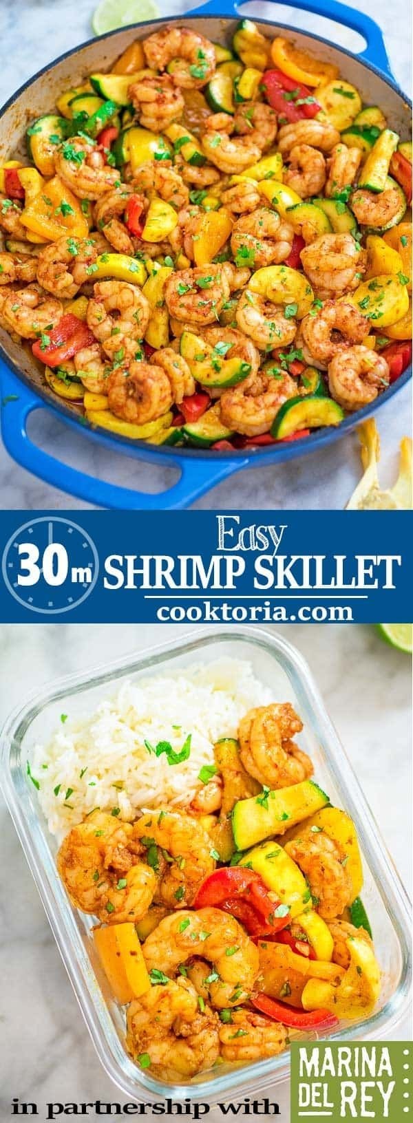 Easy Shrimp and Vegetable Skillet makes a healthy quick and delicious dinner Packed with wildcaught shrimp tender zucchini and sweet bell peppers it is going to become yo...