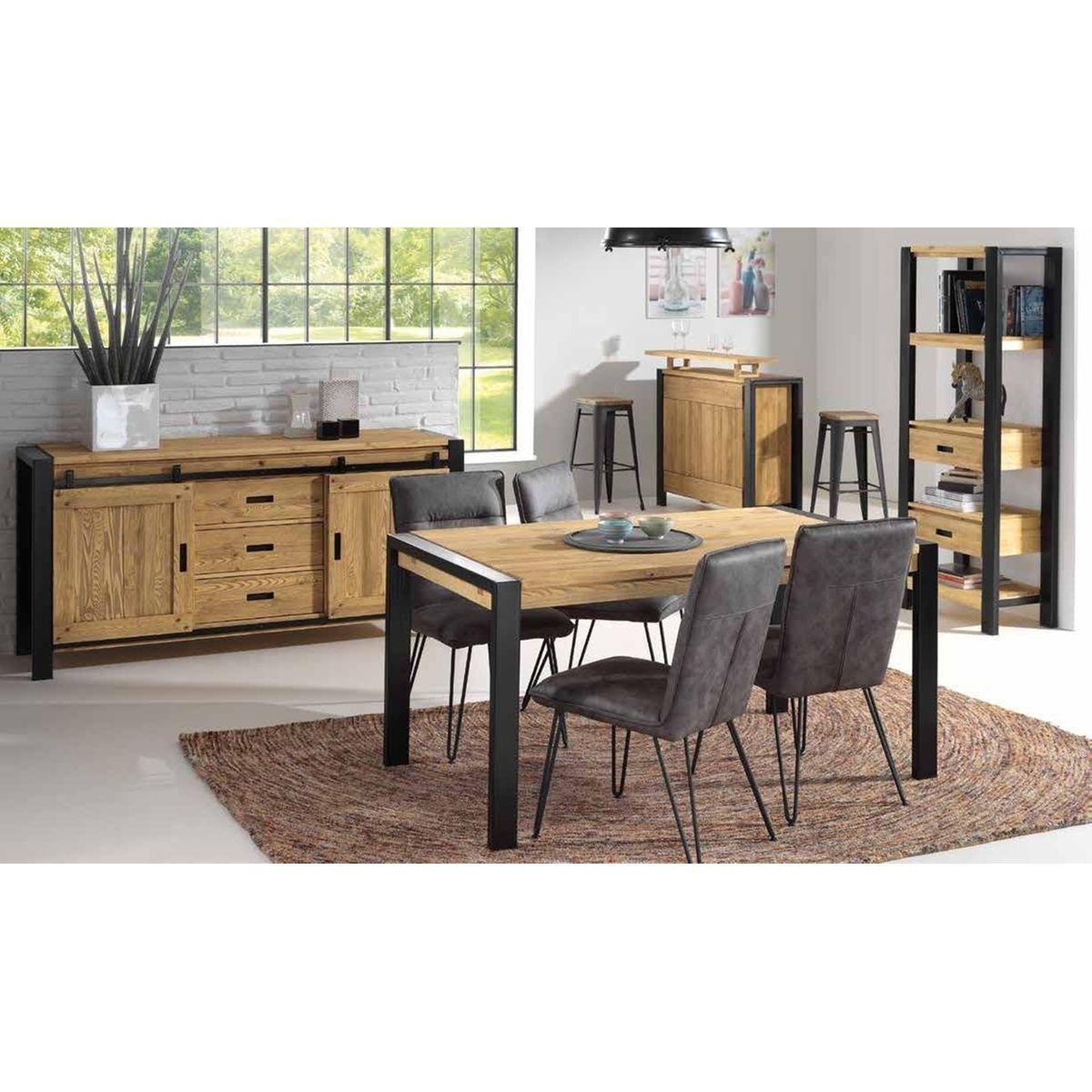 Table A Manger Ronde Extensible Style Industriel Bois Massif Et