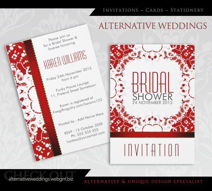 Red White Batik Bridal Shower Party Invitation by Alternative Weddings