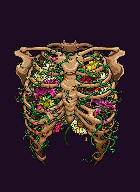 fondo de pantalla, anatomia y arte tórax con flores | arte | Pinterest