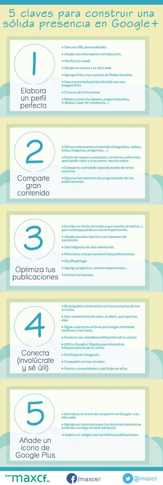 5 claves para construir una sólida presencia en Google + #infografia #infographic #socialmedia