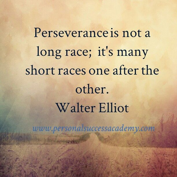 Perseverance is not a long race it's many short races one ...