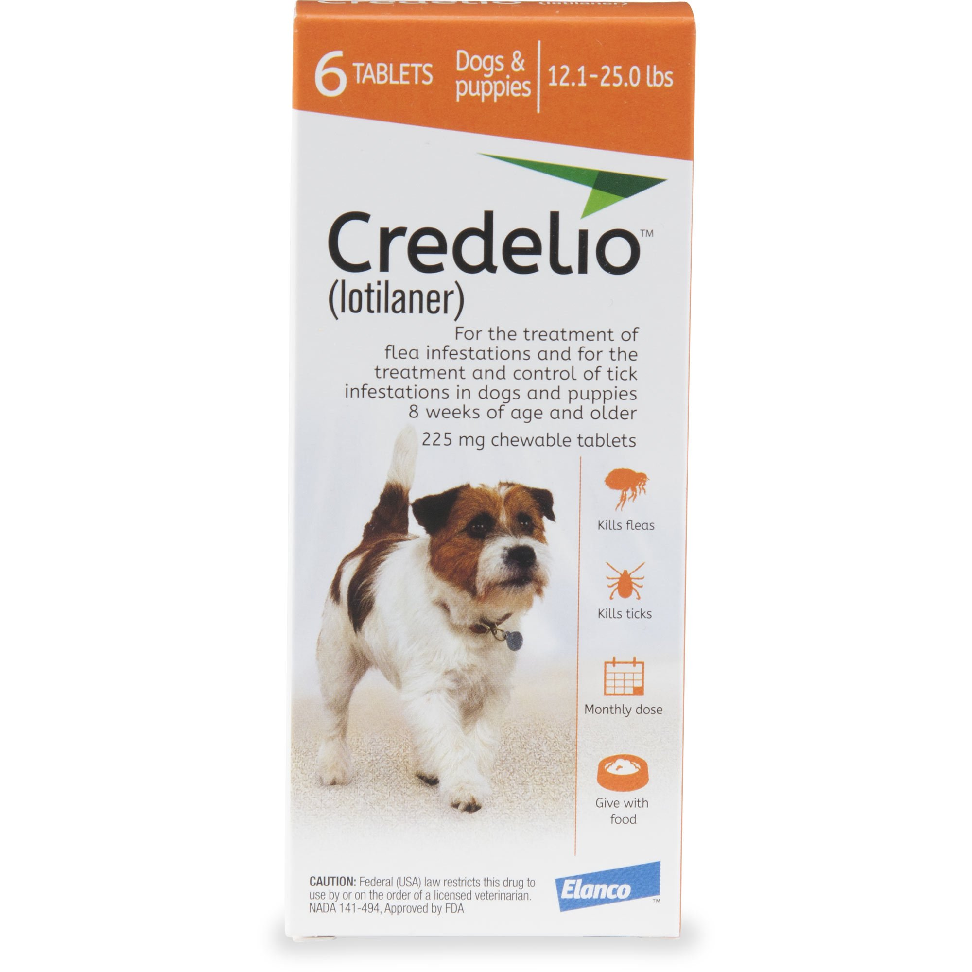 Credelio Chewable Tablets For Dogs 12 1 25 Lbs Orange 6 Pack Fleas Flea Tick Brown Dog Tick