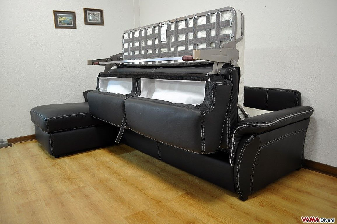 Black Leather Corner Sofa Bed With Storage En 2020 Living