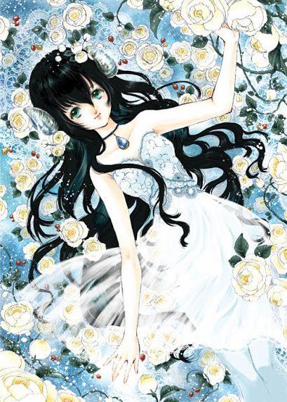 Princess with blue eyes, long black hair, white dress ...