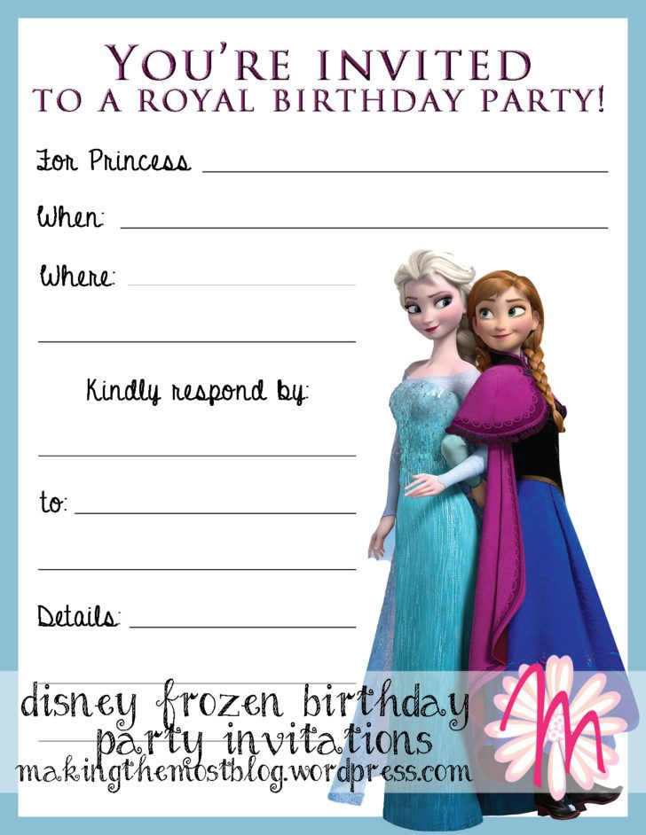 Birthday Lovely Disney Frozen Birthday Party Invitation Template - Party invitation template: frozen birthday party invitation template