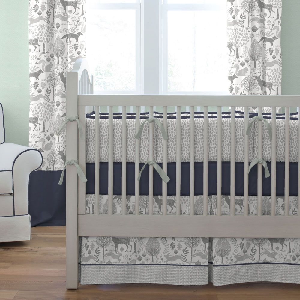 Navy And Gray Woodland Crib Bedding In 2020 Woodland Crib Bedding Woodland Crib Crib Bedding Boy