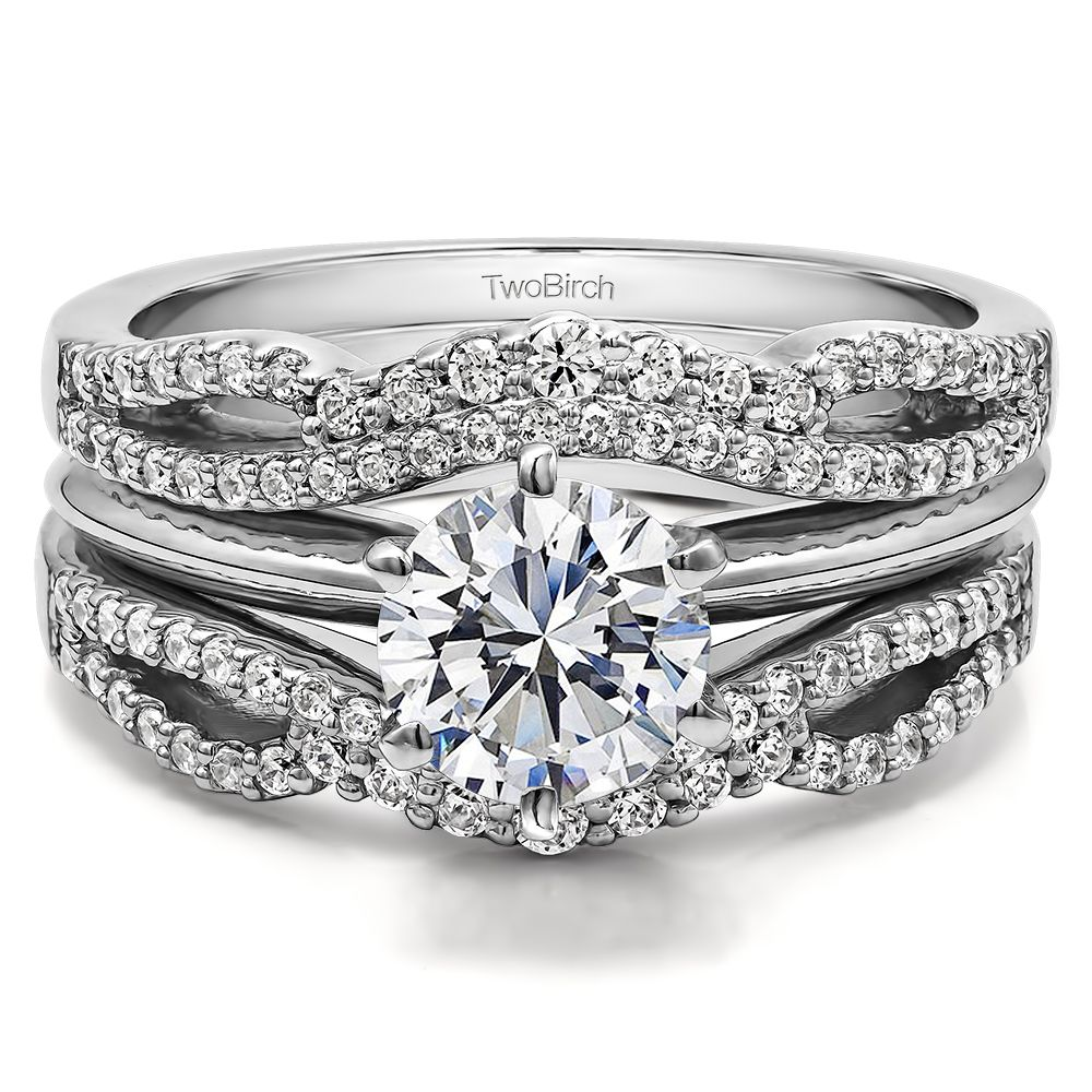 Double Infinity Wedding Ring Guard Enhancer ( 049 Ct Twt)
