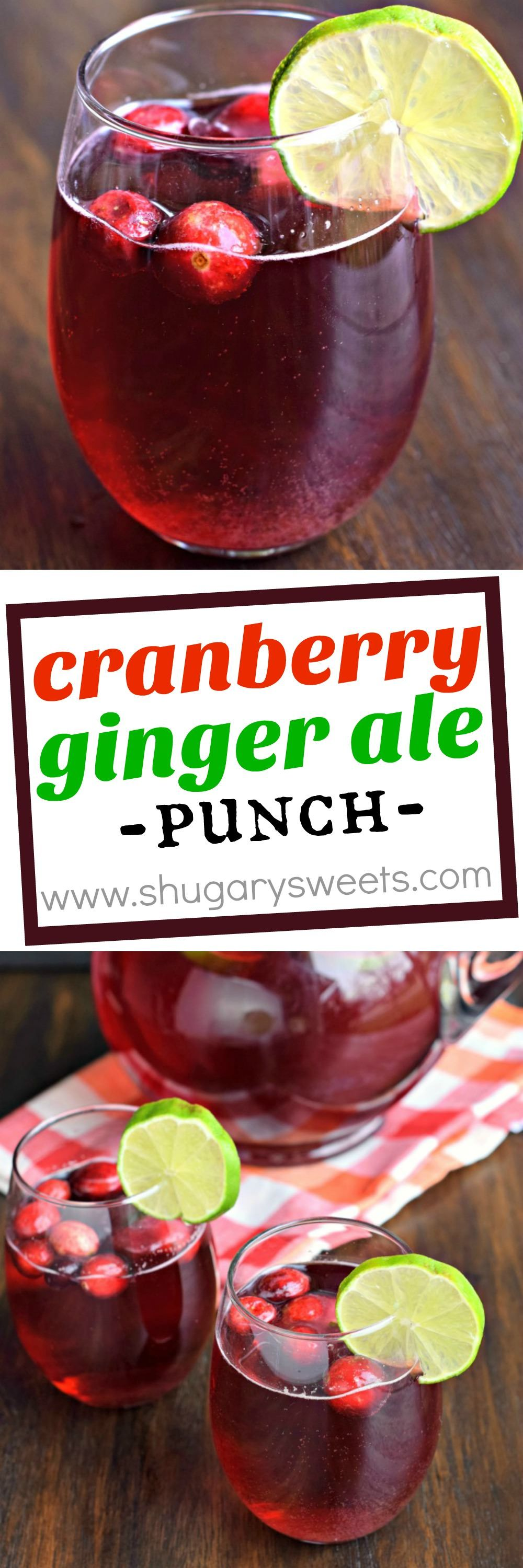 Cranberry Ginger Ale Punch That Can Be Made Boozy Or Not It S Great For Grown Ups And Kids Alike Cranberry Ginger Ale Ginger Ale Punch Punch Recipes