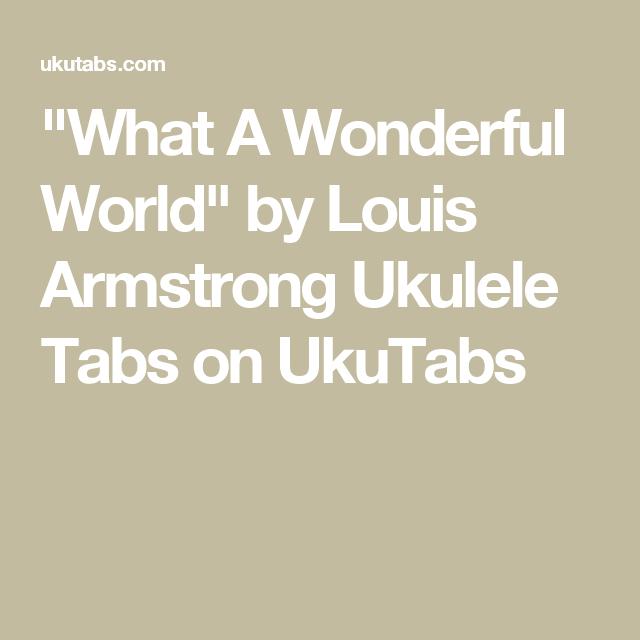 Old Fashioned Ukulele Chords What A Wonderful World Image Basic
