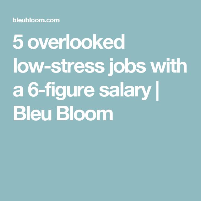 5 Overlooked Low Stress Jobs With A 6 Figure Salary Bleu Bloom