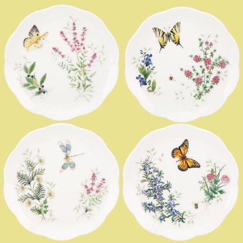 Lenox Erfly Meadow Herbs Dessert Plates S 4