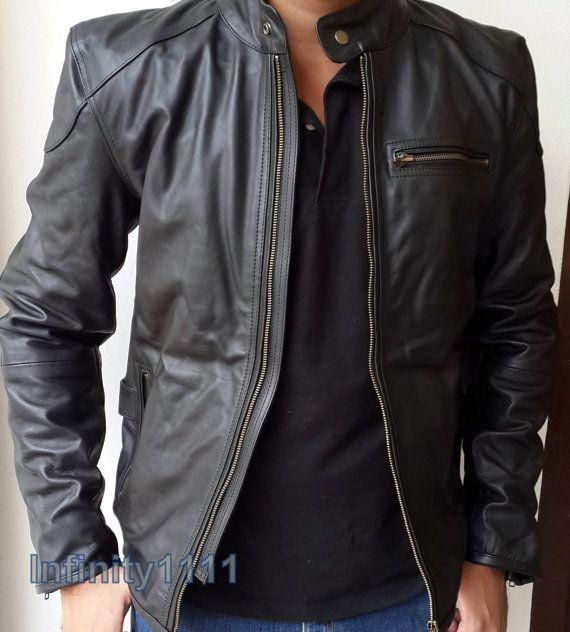 Pour Raccord Cuir Corps Veste Noir Homme Style En Mince dawqwng8x