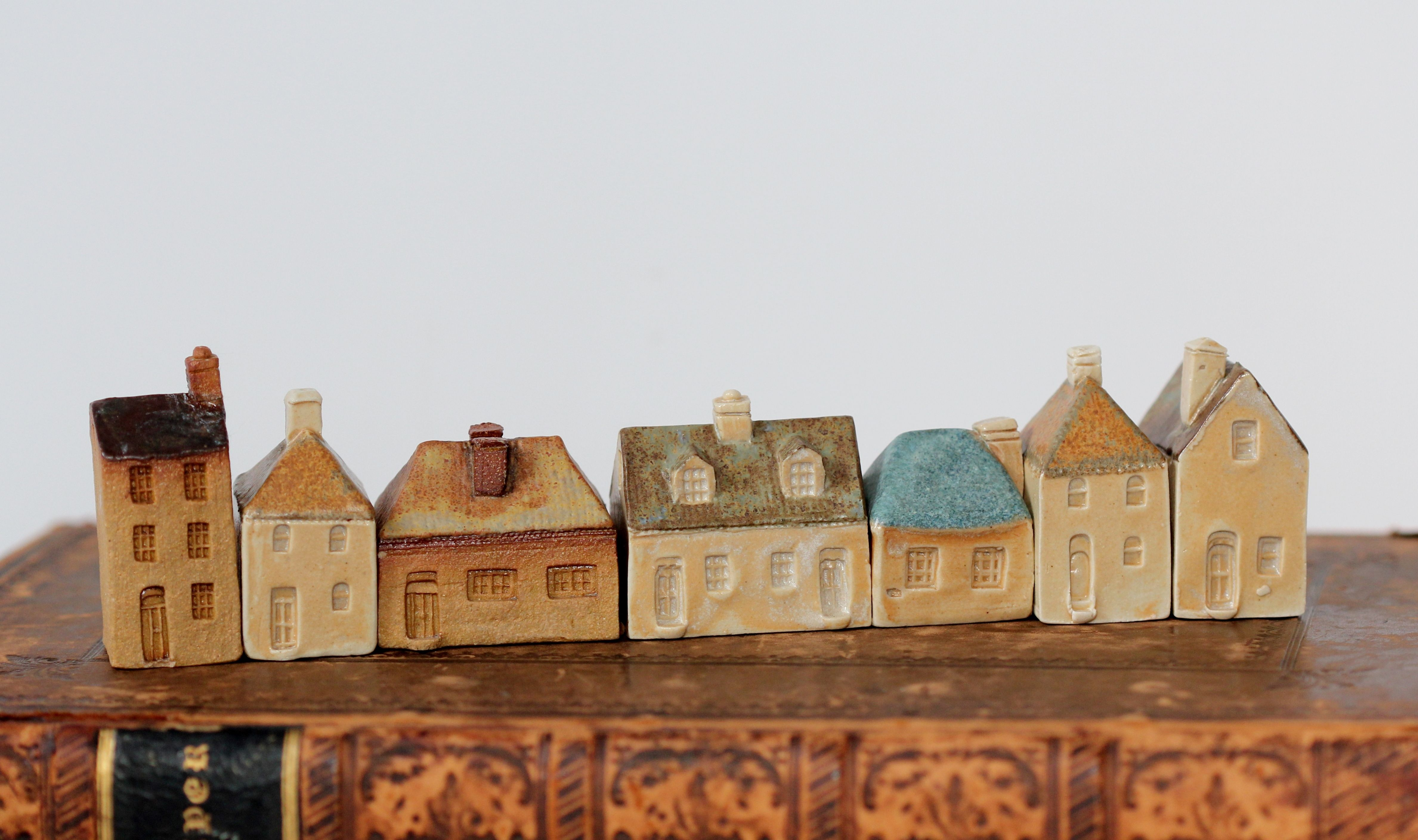 little pottery houses from moonpenny pottery Tasmania.