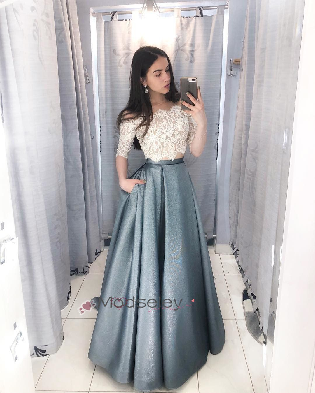 599d376d1a3 White and Blue Long Prom Dress with Half Sleeves from modseleystore ...