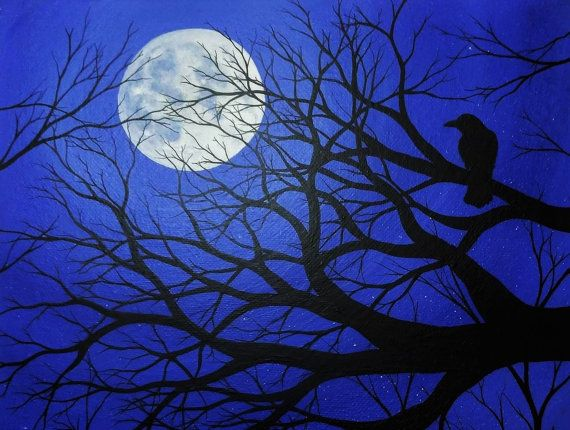 Tree Moonlight Dark Black Raven Crow Photo Wallpaper Wall Mural GIANT WALL DECOR