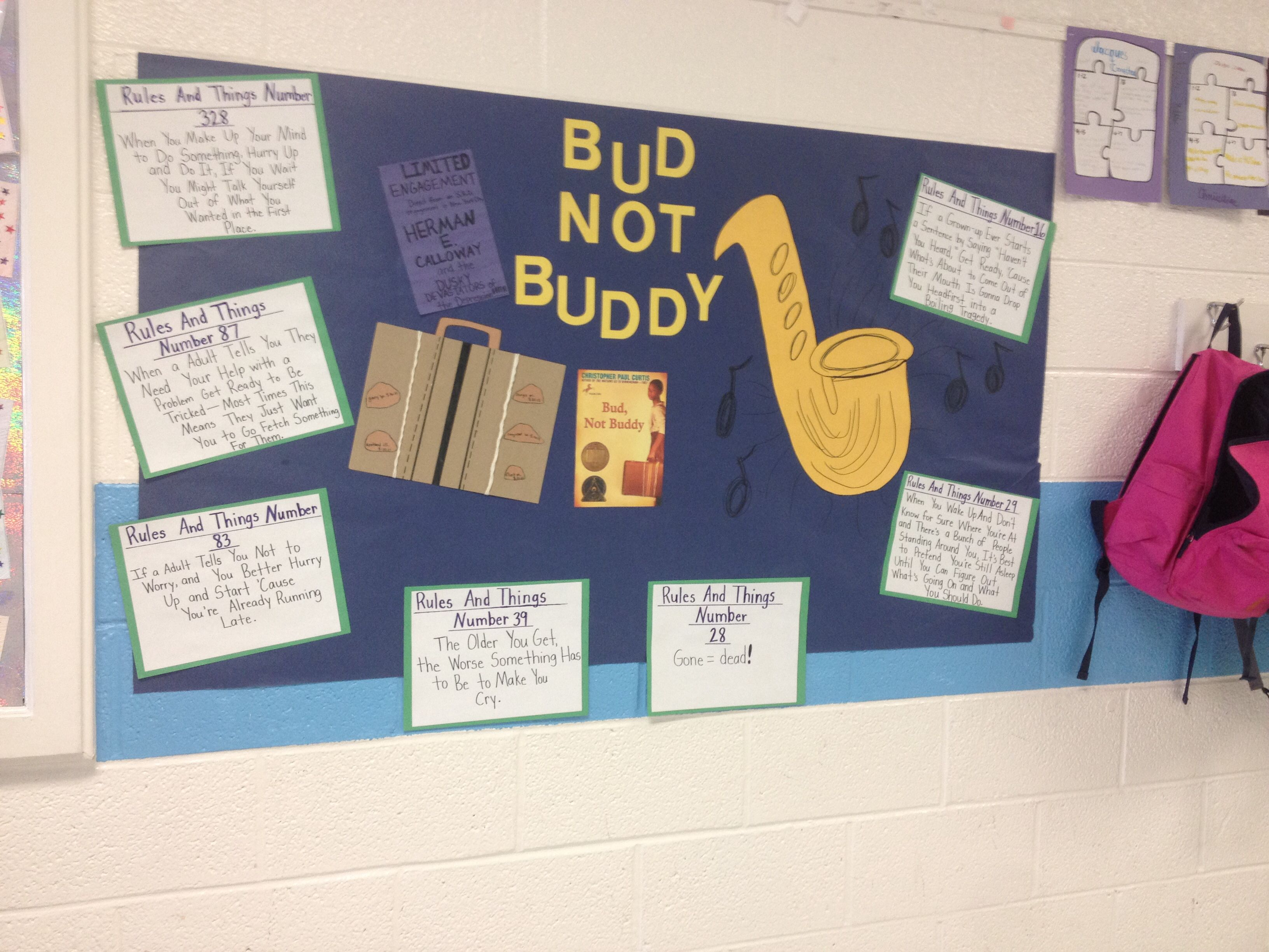 bud not buddy suitcase project love it going to have to  bud not buddy bulletin board i created