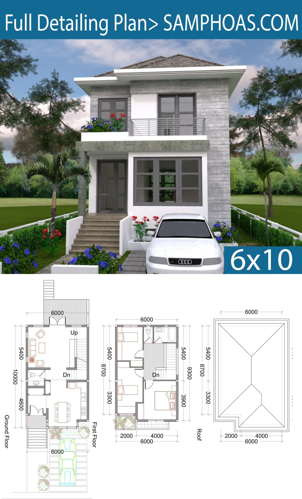 3 Bedrooms Small Home Design Plan 6x10m Samphoas Plansearch Small House Design Plans Architectural House Plans Model House Plan