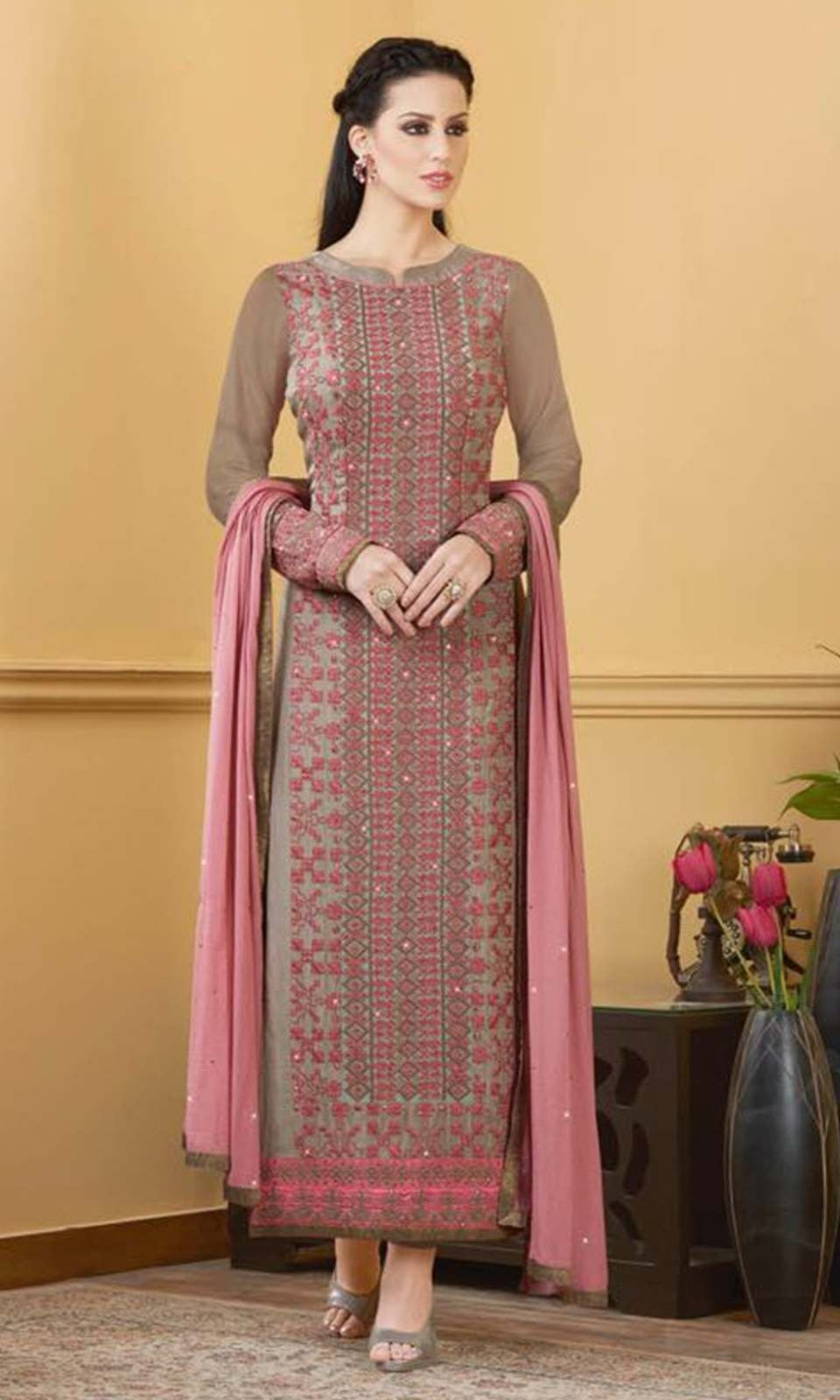 f2027bf4f8 Shop Brown Party wear Straight Cut Suit (SKU Code : SUEVP8811) online at…