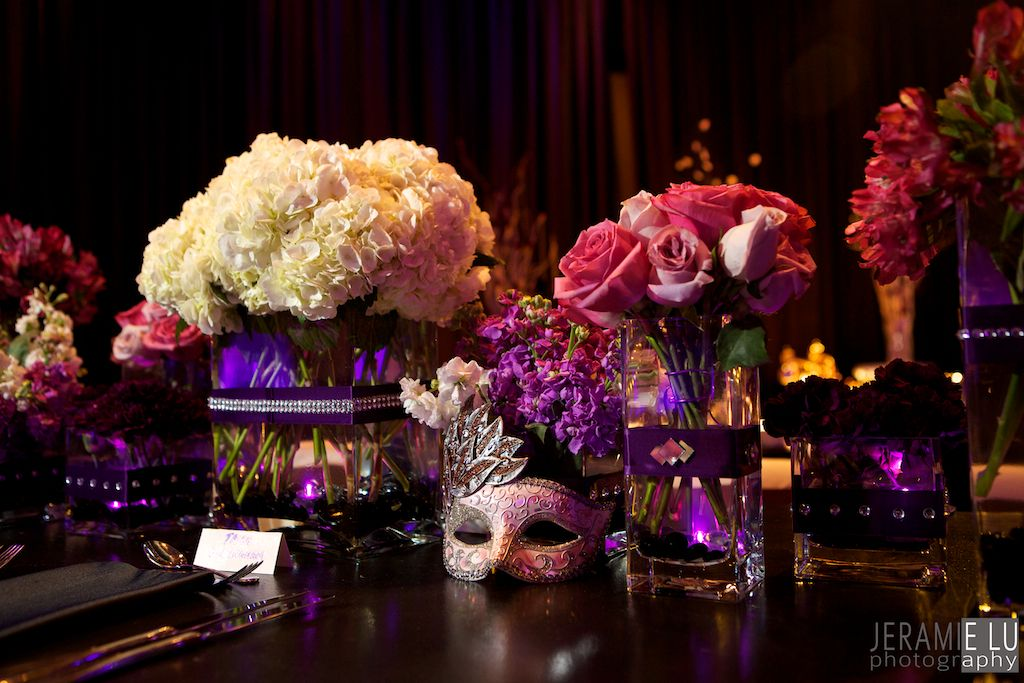 Glamourous Masquerade Centerpiece With Purple And Silver Mirror Designed By Red Carpet Events Design