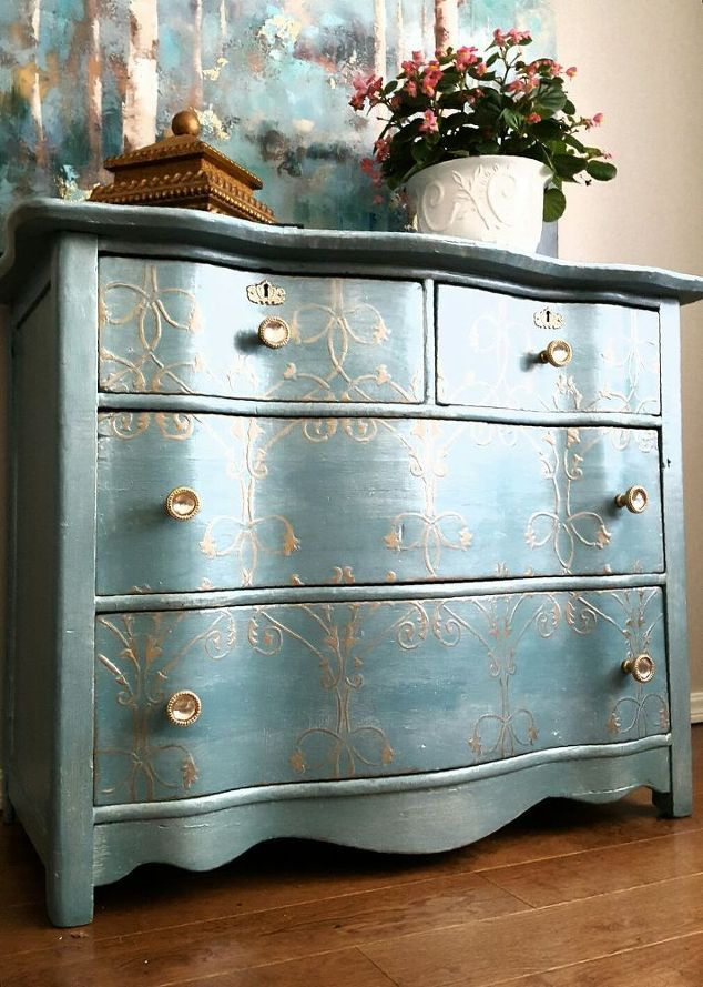 Charming Painted Furniture Ideas Part - 12: Breathtaking Makeover For An Old Damaged Dresser