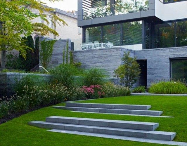 am nagement paysager moderne 104 id es de jardin design pelouse am nagement paysager et fa ades. Black Bedroom Furniture Sets. Home Design Ideas