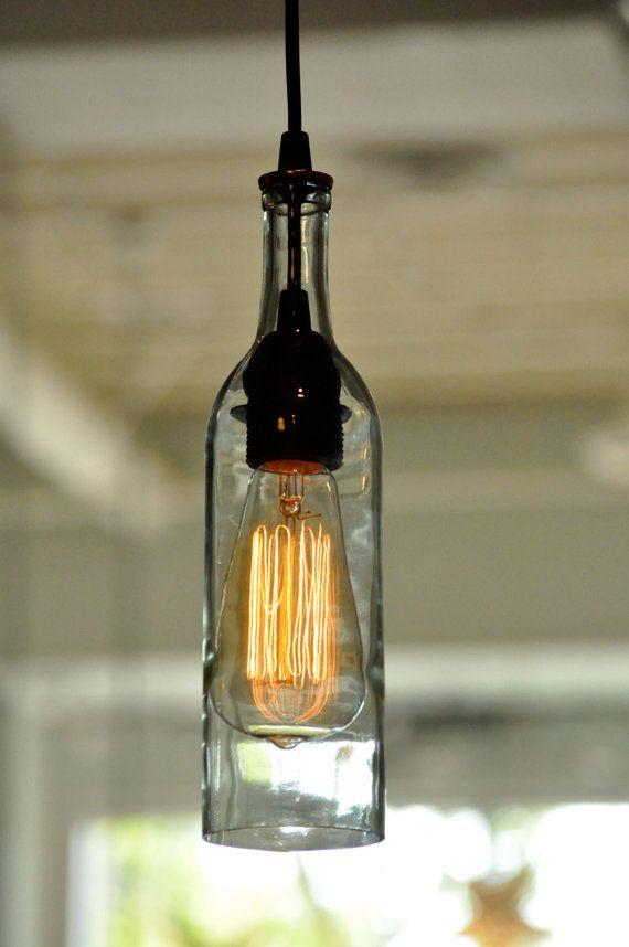 Custom Listing For Brenda Recycled Wine Bottle Pendant Lamp