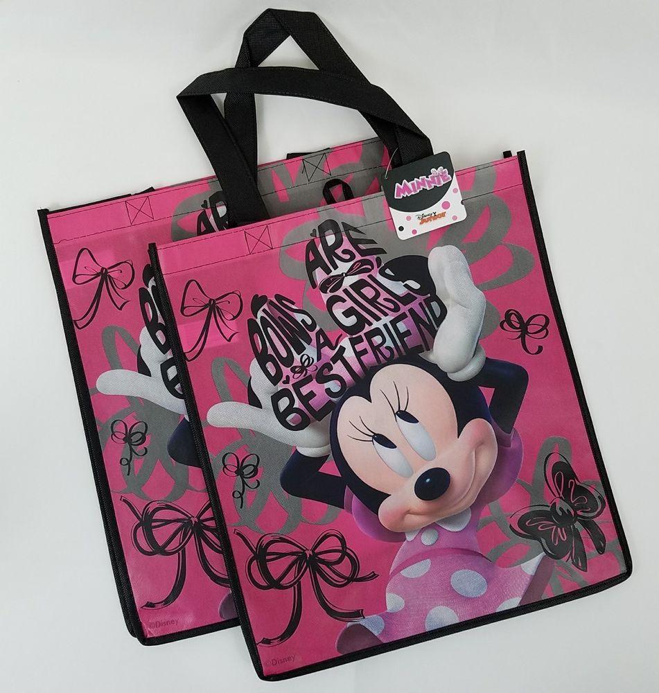 1df86c4ca 2 Disney Minnie Mouse Reusable Gift Tote Bags Bows Are Girls Best Friend  Pink #Disney #TotesShoppers #AnyOccasion
