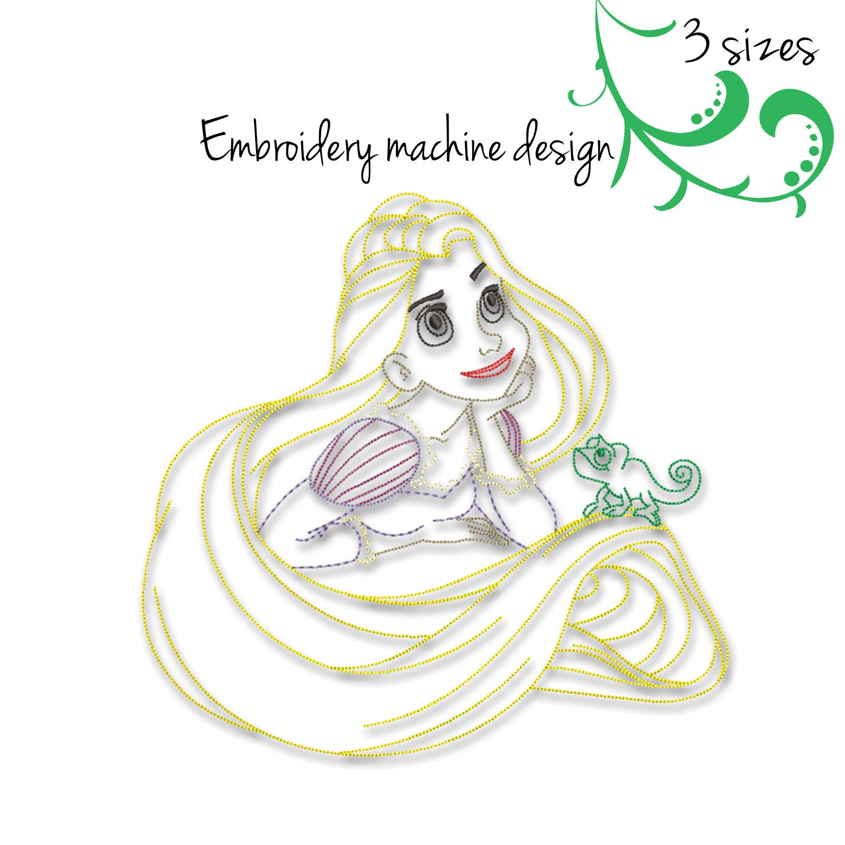 Rapunzel Embroidery Machine Design Princess Outline Disney