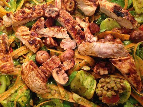 Hahnchen Tikka Mit Linsen Salat Und Koriander Nach Jamie Oliver Rezept Rezepte Lebensmittel Essen Essen