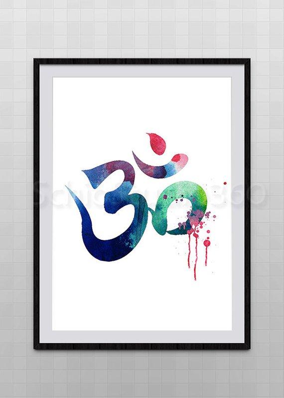 Ohm Symbol Watercolor illustrations Print Wall Art Poster Giclee Wall Decor Art