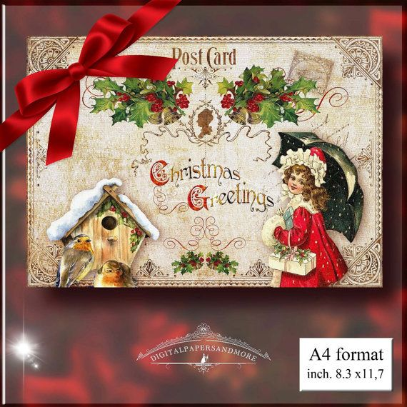 Victorian Christmas childrens Red/Green by Digitalpapersandmore