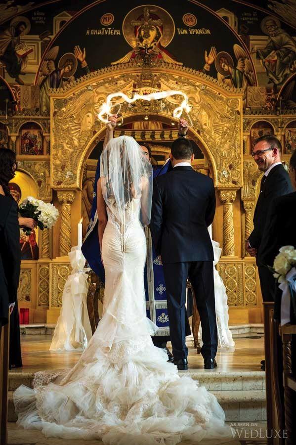 A Traditional Greek Wedding Meets Sleek Sophistication Wedluxe Magazine Greek Wedding Dresses Greek Wedding Greek Wedding Traditions