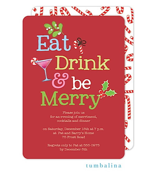 Christmas Cocktail Party Invitations Eat Drink And Be Merry - Dessert party invitation template