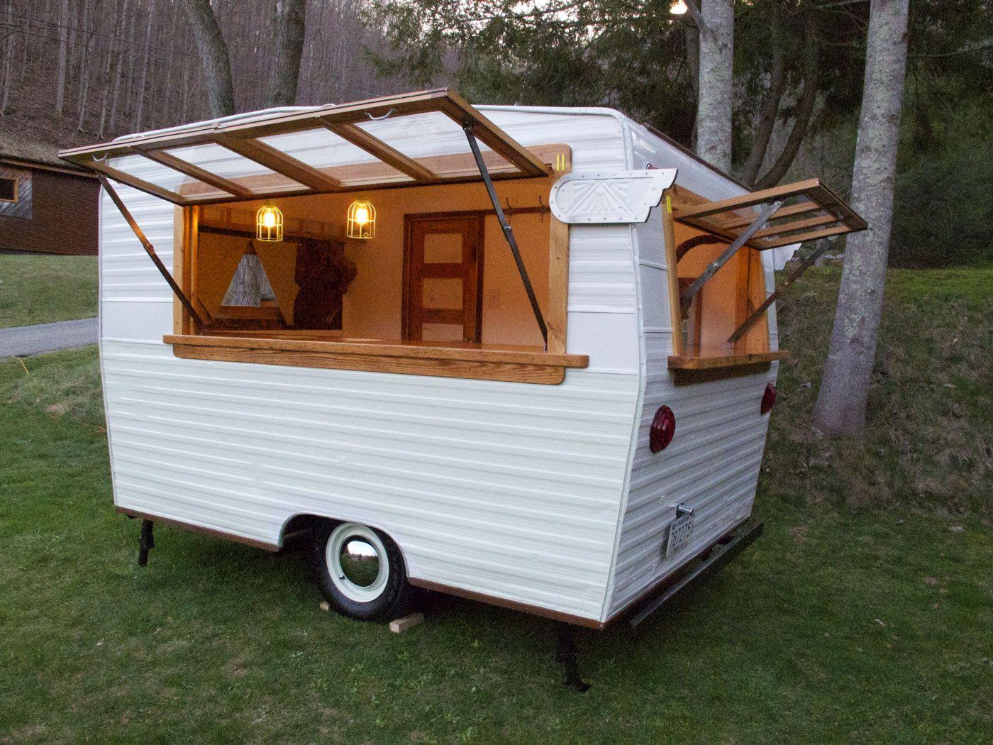 Camp Cocktail Shasta Camper Caravan Bar Caravan Bar Food Truck Mobile Coffee Shop