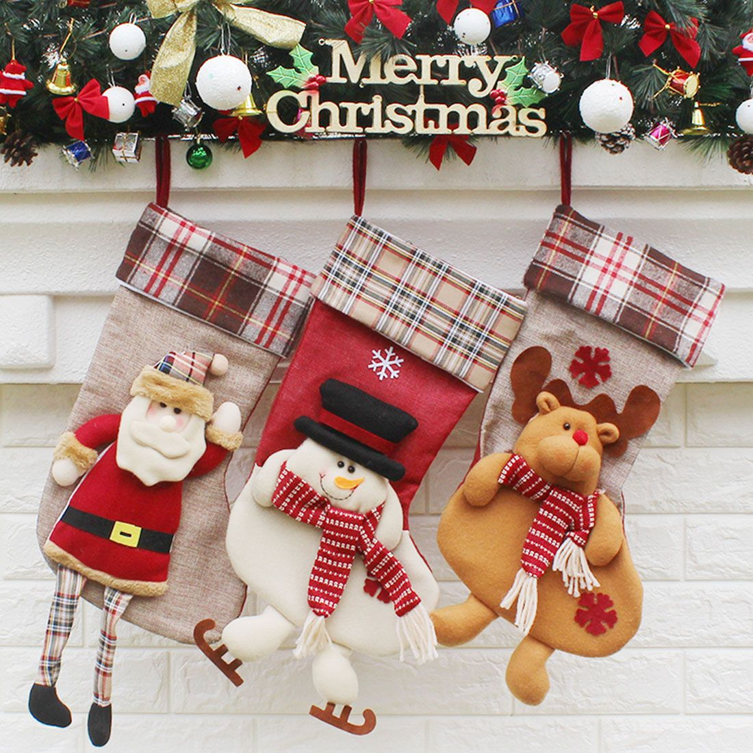 a165814a6ca Top Sale Kids Xmas Decoration Candy Bags Christmas Stocking Santa Claus  Weaven Sock Gift Bags Bauble Christmas Tree Ornaments