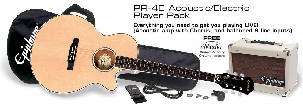 Epiphone Pr 4e Acoustic Electric Player Pack Na Acoustic Electric Epiphone Acoustic Guitar Acoustic