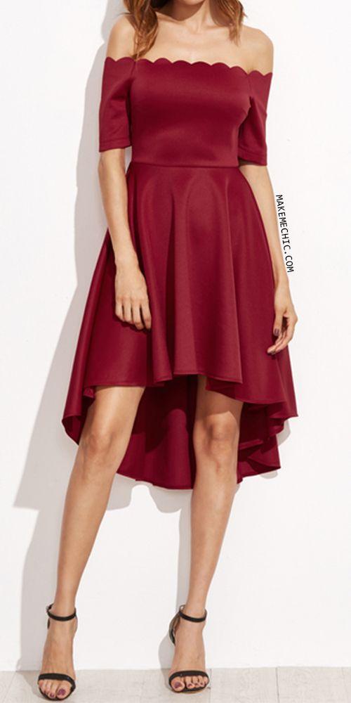 Burgundy Scallop Off The Shoulder High Low Skater Dress