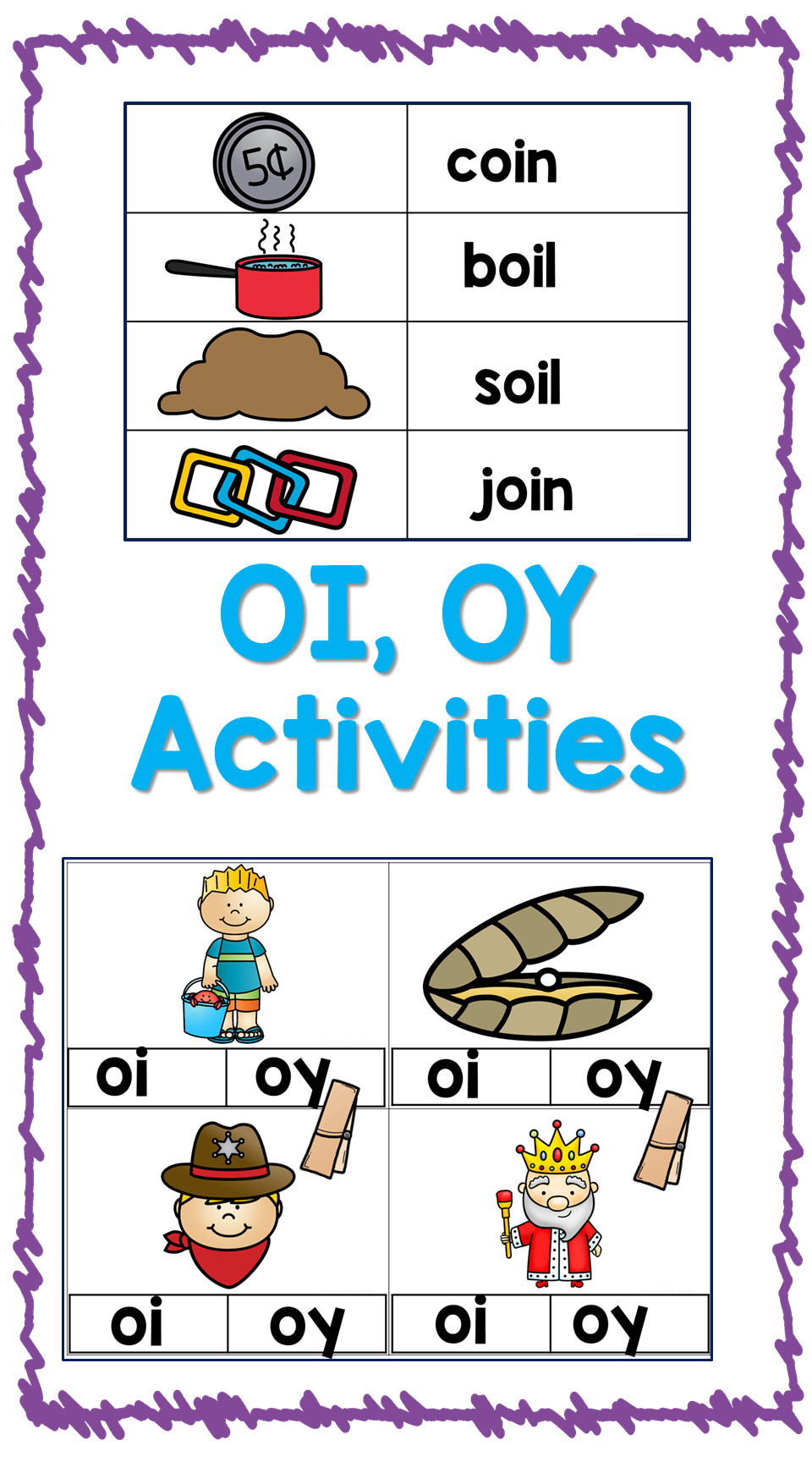 OI OY- Diphthong Activities and Printables | Phonics Adventures ...