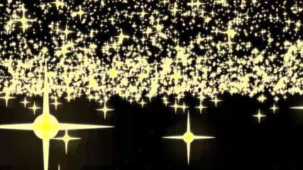 Golden glowing star particle in random direction with bounce on spotlight ground abstract background animation motion graphic 3D render with copy space on black background