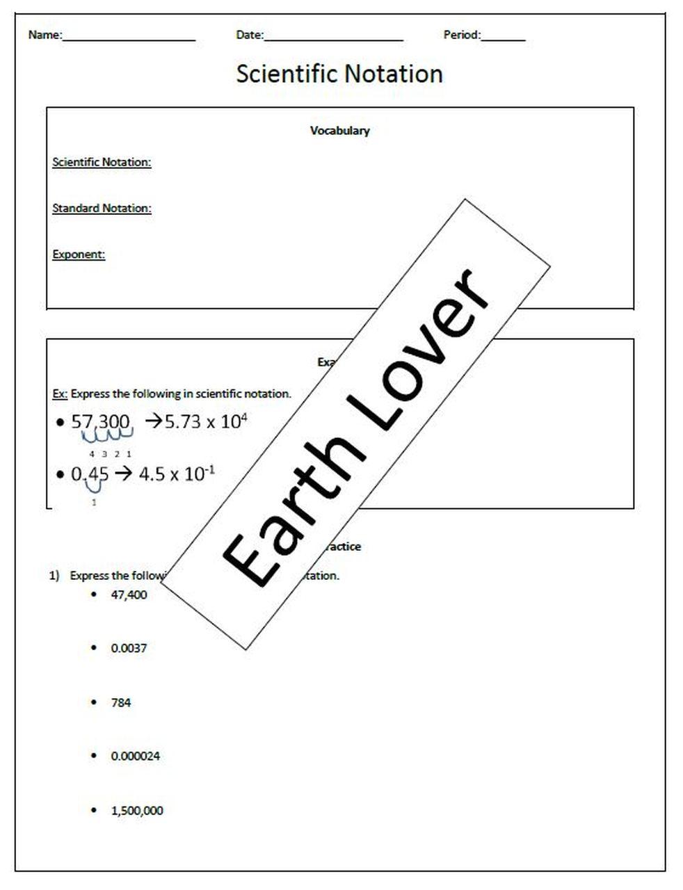 Scientific Notation Worksheet Scientific notation