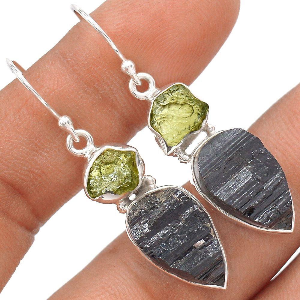 Black Tourmaline Rough 925 Sterling Silver Earrings Jewelry SE119394 | eBay