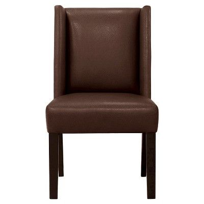 Pleasing Modified Wingback Chair Espresso Bonded Leather Caraccident5 Cool Chair Designs And Ideas Caraccident5Info