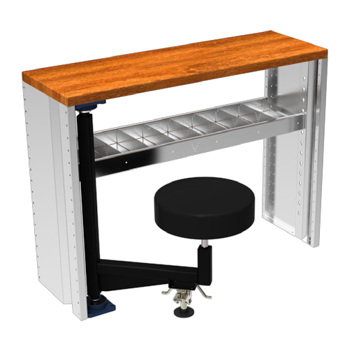 Pivoting Stool Option For Work Bench Modual Compatible With Ford E Series Transit Connect