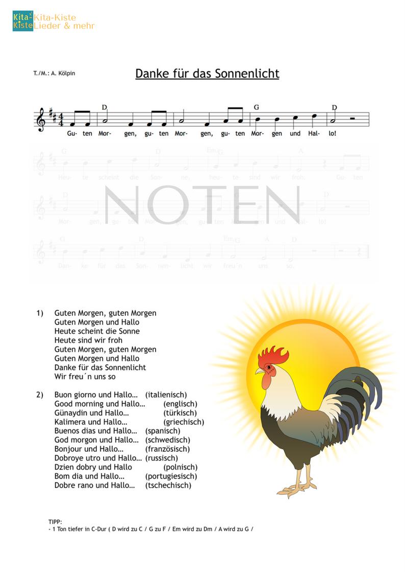 Guten Morgen Lied In Vielen Sprachen Noten Mp3 Hier