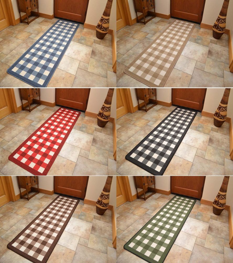 Non Slip Rubber Backing Long Narrow Hall Rugs Kitchen Floor Carpet Runner Mats