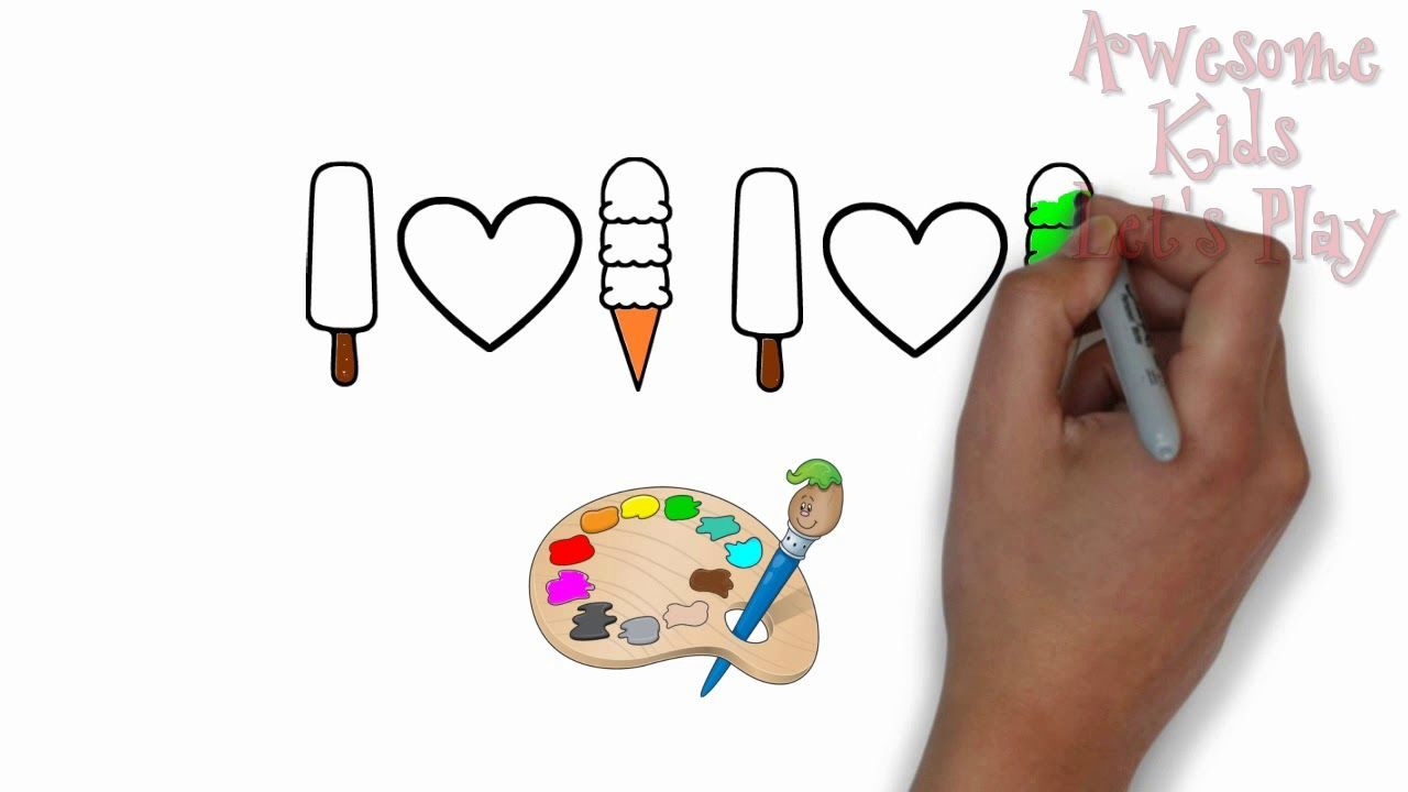 Coloring Ice Cream For Kids | Learn Colors With Painting ...