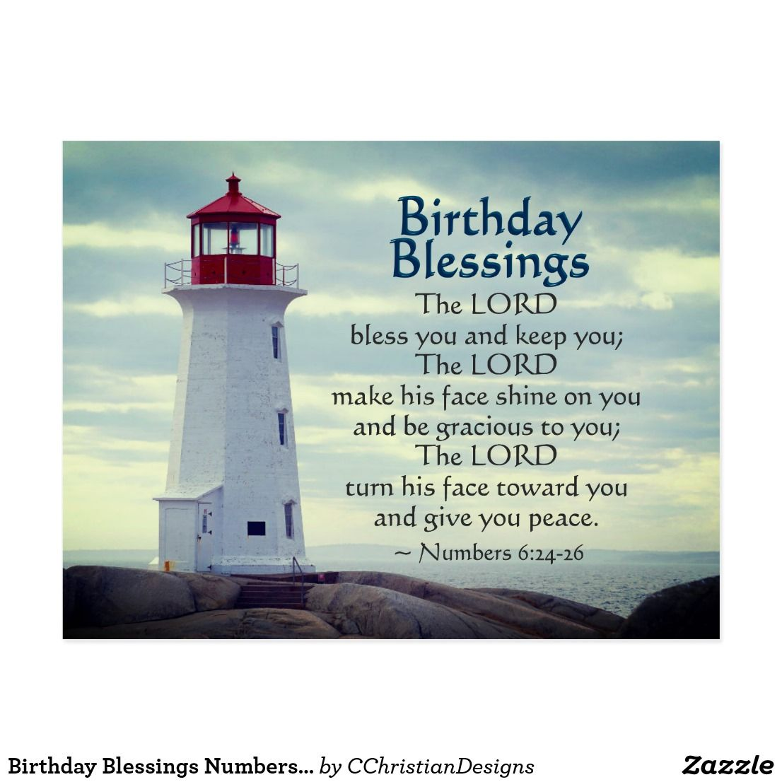 Birthday Blessings Numbers 6 24 26 Lighthouse Postcard Zazzle Com Birthday Blessings Birthday Blessings Christian Christian Birthday Wishes