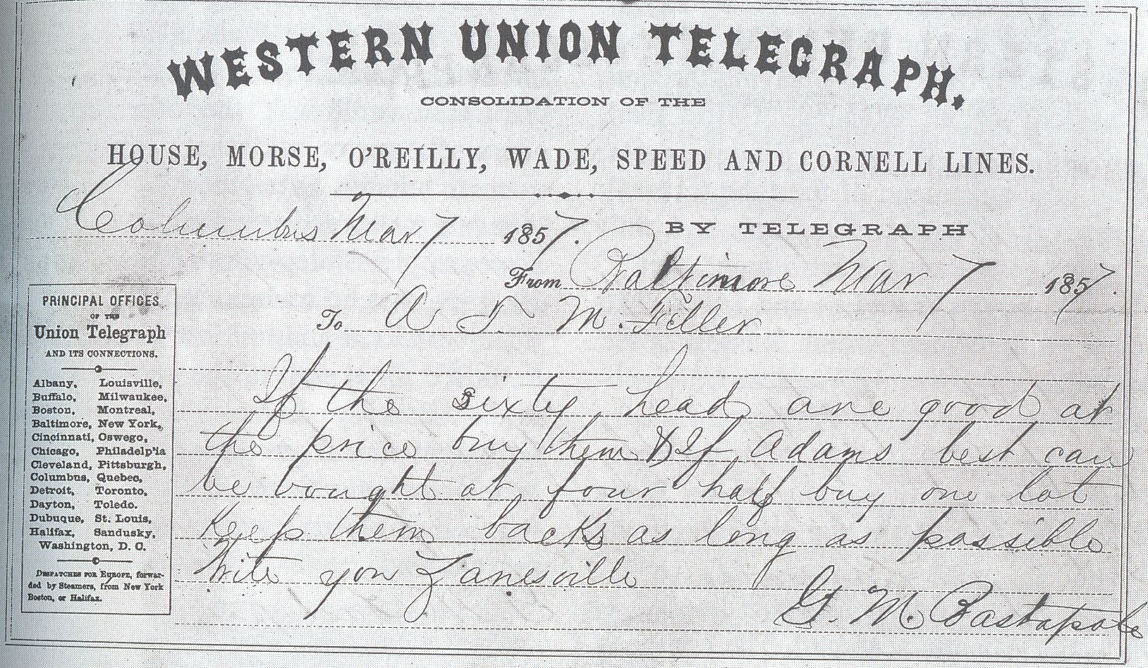 Early westernunion telegram western union money transfer
